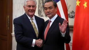 中國外長王毅與美國國務卿蒂勒森2017年3月18日北京