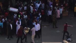 Mkanda unaonesha alivyouawa jambazi kwa kupigwa risasi na polisi mtaani Eastleigh jijini Nairobi nchini Kenya