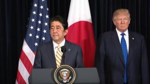 日本首相安倍晋三和美国总统特朗普出席联合记者会回应北朝鲜导弹试射