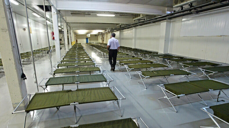 A room at the Rungis market is prepared for bodies during the 2003 heatwave that killed 11,000 in France.