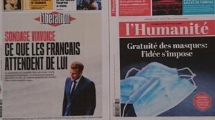 Primeiras páginas  de diários franceses 26 08 2020