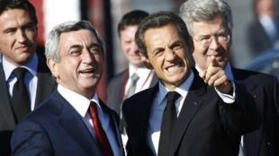 Le président français Nicolas Sarkozy avec son homologue arménien Serge Sarkissian le 6 octobre 2011 à Erevan.