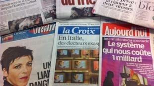 Primeiras páginas diários franceses 22/2/2013