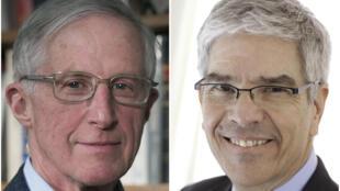 Hai nhà kinh tế đoạt giải Nobel 2018, giáo sư William D. Nordhaus (T) và nguyên kinh tế trưởng Ngân Hàng Thế Giới Paul Romer.