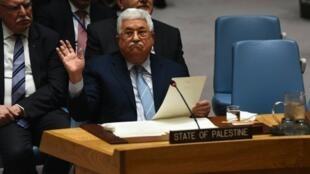 Mahmoud Abbas katika Baraza la Usalama la Umoja wa Mataifa, New York, 20 Februari 2018.