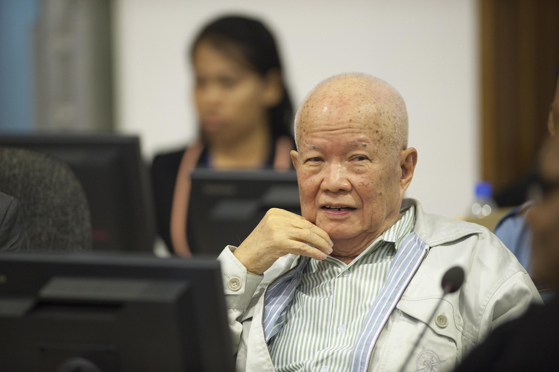 Khieu Samphan, ancien chef d'Etat du Kampuchea démocratique, lors d'une audience du CETC en juillet 2014.