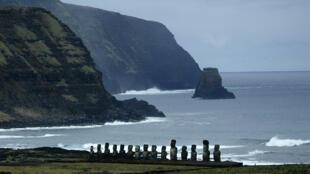 Estatuas Moai en la bahía de Tongariki, en la Isla de Pascua.