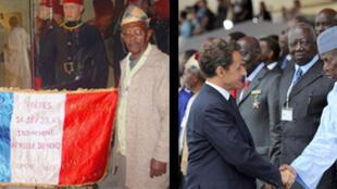 Deux anciens tirailleurs malgaches avec le drapeau «Patrie, Frères, Honneur: unis comme aux fronts».