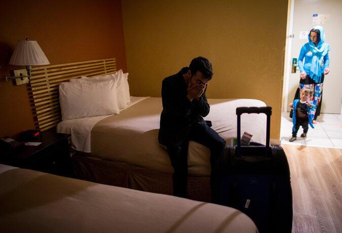 محمد علی و ذکیه در هتل محل اقامت شان در نیویورک.