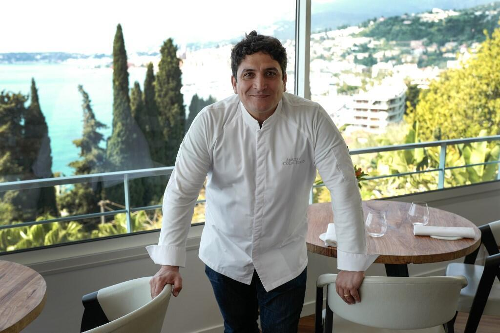 """Italian-Argentinian chef Mauro Colagreco in the """"Mirazur"""" restaurant on the French riviera city of Menton"""