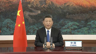 Chinese President Xi Jinping giving a statement during a video conference of WHO member states, pledging 2 billion US$ to fight the COVID-19 pandemic, 18 May 2020.