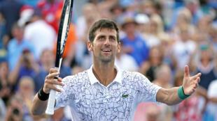 Novak Djokovic après sa victoire à Cincinnati, le 19 août 2018.