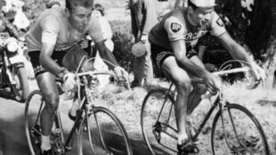 Jacques Anquetil (G) au coude à coude avec son compatriote Raymond Poulidor dans l'ascension du Puy de Dôme, le 12 juillet 1964.