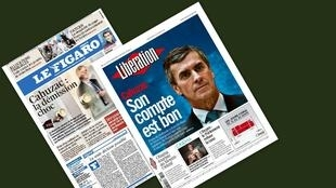 Capa dos jornais franceses Le Figaro e Libération desta quarta-feira, 20 de março de 2013, sobre o escândalo envolvendo o ministro do Orçamento francês.