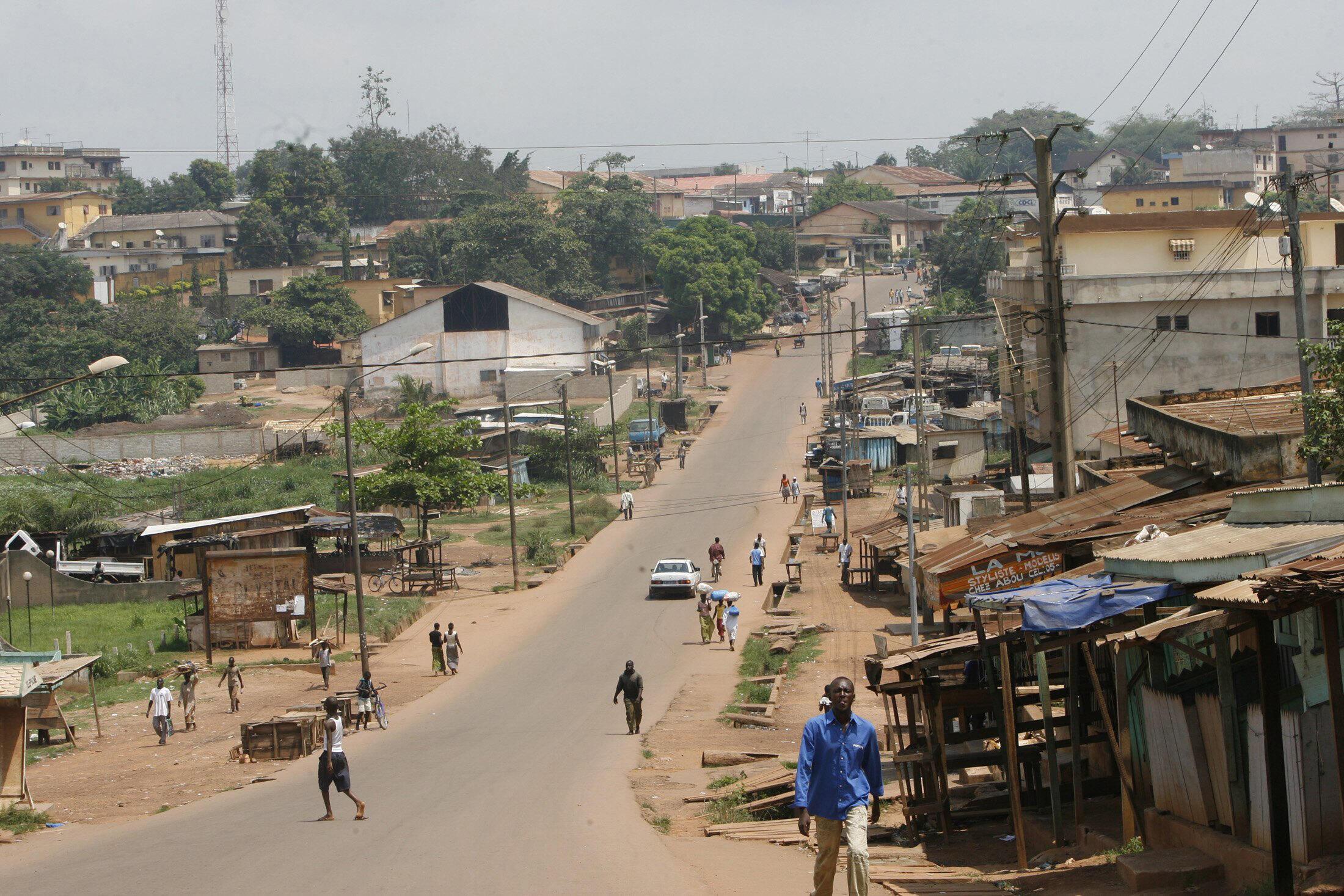 Vue d'une des rues principales de Gagnoa, en Côte d'Ivoire (image d'illustration).