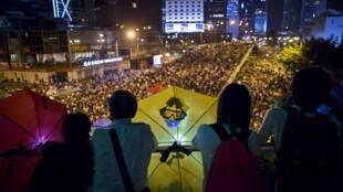 Les étudiants se sont de nouveau mobilisés à Hong Kong, dans la nuit du 10 au 11 octobre 2014.