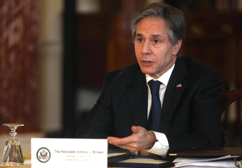 El secretario de Estado de Estados Unidos, Antony Blinken, habla durante la visita a la ONU a través de una videoconferencia desde el Departamento de Estado en Washington DC, el 29 de marzo de 2021.