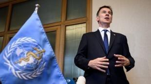 جرمی هانت، وزیر امور خارجۀ بریتانیا، در حاشیۀ اجلاس سازمان بهداشت جهانی در مقر اروپائی سازمان ملل متحد ژنو – ٢٠ مه ٢٠١٩
