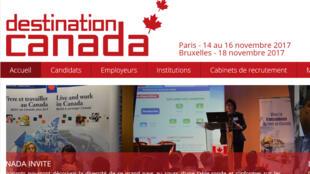 La page d'accueil du site de «Destination Canada».