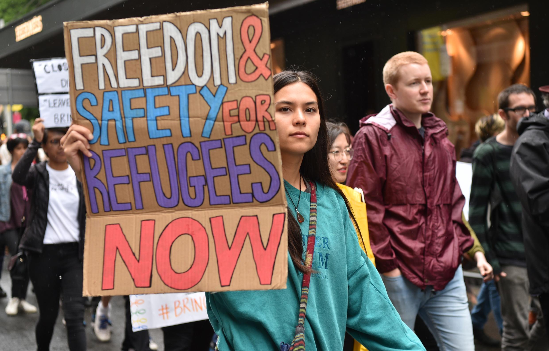 Des militants manifestent pour les droits des réfugiés à Sydney, dans le cadre de la crise des réfugiés de l'île de Manus en novembre 2017.