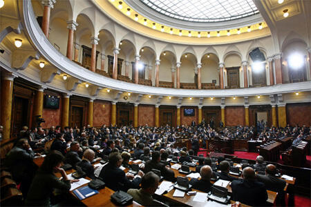 Members of the Serbian parliament debate the landmark bill condemning the 1995 massacre in Srebrenica.