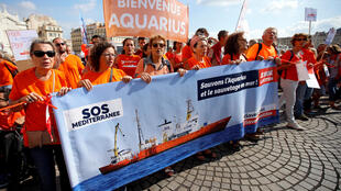 SOS Mediterranee, a charity operating the Aquarius, the last migrant rescue ship in the Mediterranean sea, calls for protests and a Europe-wide mobilisation to help them regain a flag to resume their rescue operations, in Marseille, France, October 6, 2018