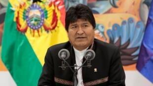Le président bolivien Evo Morales, en conférence de presse, à La Paz, le 23 octobre 2019.