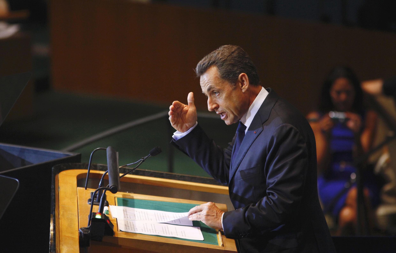 Tổng thống Pháp  Nicolas Sarkozy trên diễn đàn phiên họp Đại hội đồng Liên Hiệp Quốc  tại New York, ngày  21/09/ 2011.