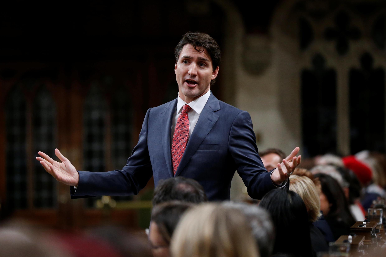 資料圖片:加拿大總理杜魯多2017年10月25日在眾議院發言。
