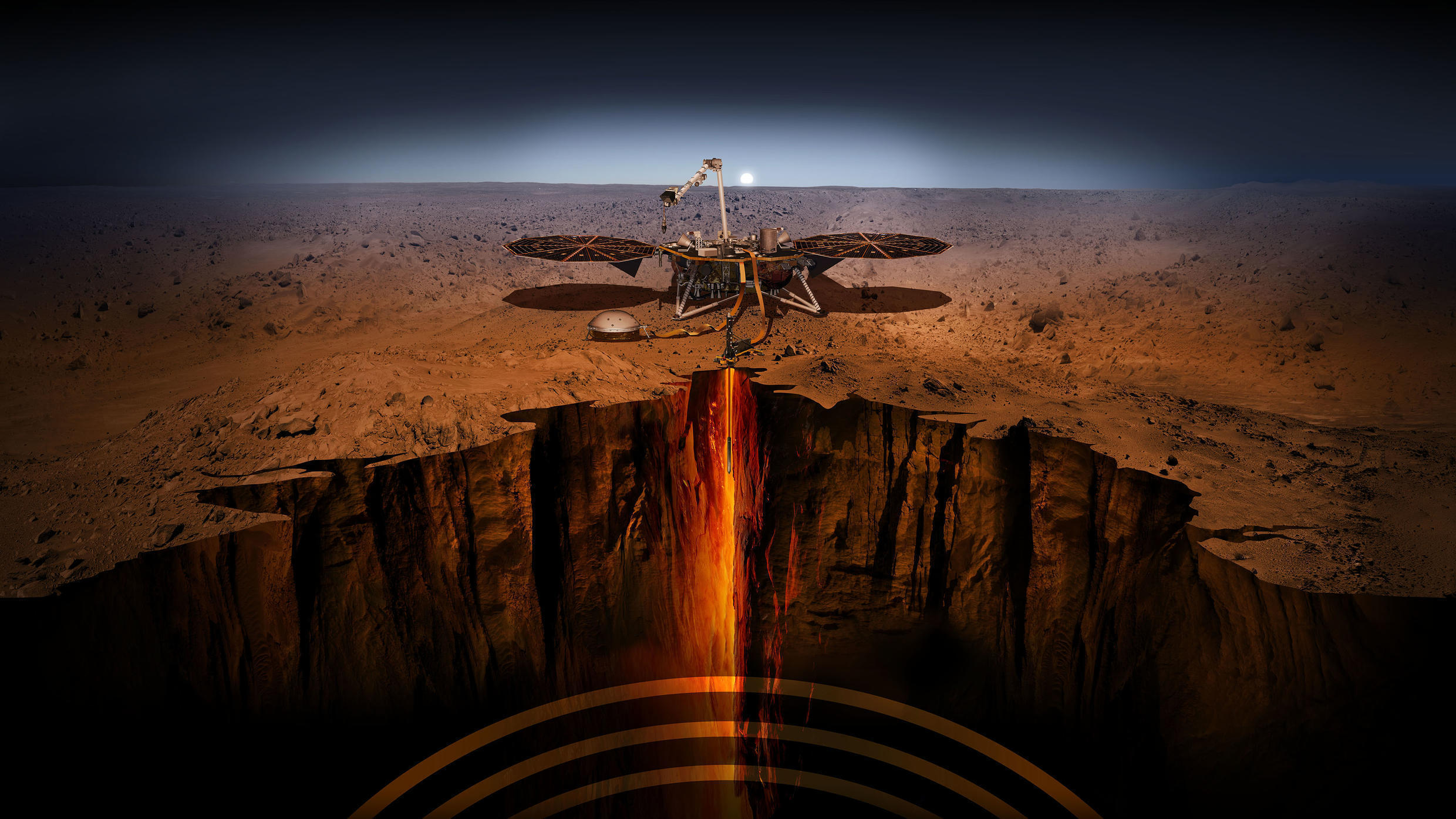 The InSight probe will use three instruments, including a seismometer developed in France, to study the interior of the planet Mars.