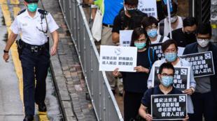 Una protesta contra la ley de seguridad que Pekín quiere imponer sobre Hong Kong el 22 de enero de 2020