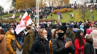Manifestantes que denuncian los resultados de la elección presidencial en Bielorrusia, el 8 de noviembre de 2020 en Minsk