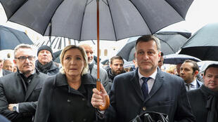 Marine Le Pen (C-L), leader of the French far-right, along with party leaders attend a national ceremony for late Lieutenant-Colonel Arnaud Beltrame at the Hotel des Invalides in Paris, France, March 28, 2018.