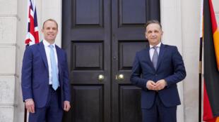 英國外交大臣拉布與德國外長馬斯資料圖片