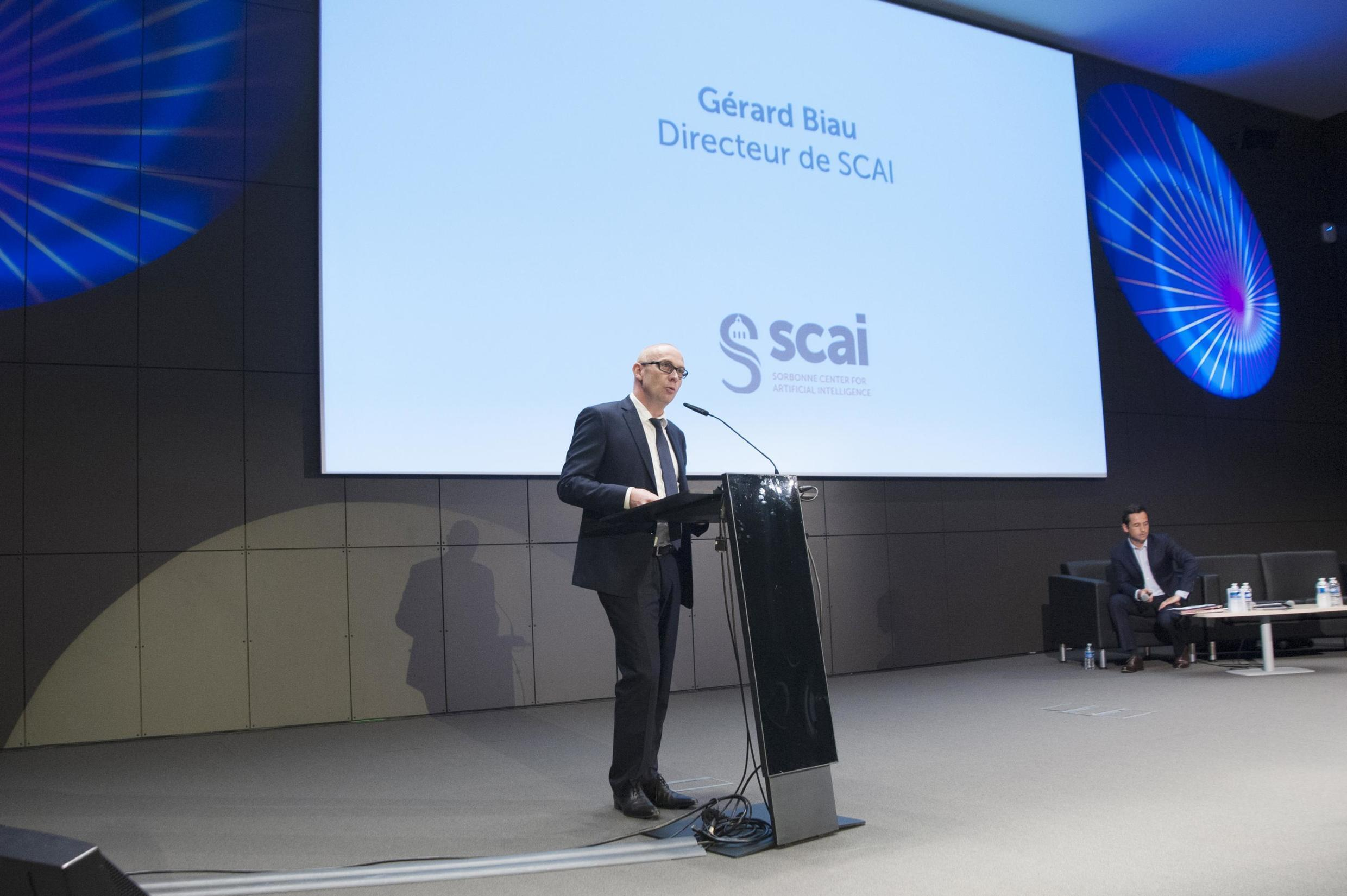 Professor Gerard Biau speaking during the inauguration of Sorbonne Centre for Artificial Intelligence in Paris.