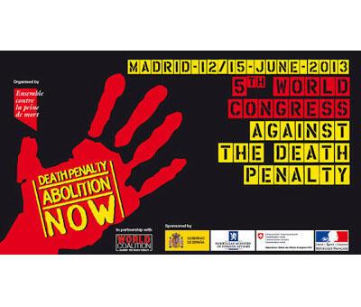 Афиша пятого Международного конгресса против смертной казни. Мадрид, июнь 2013.