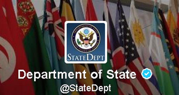 Le département d'Etat américain compte plus de 800 000 abonnés sur son compte Twitter © Capture d'écran/ Twitter