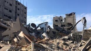 Les décombres du bâtiment de la chaîne de télélvision Al-Aqsa TV, le 13 novembre 2018.