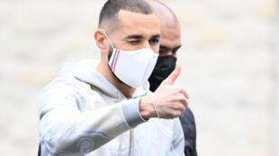 L'attaquant des Bleus Karim Benzema à son arrivée à Clairefontaine, le 26 mai 2021