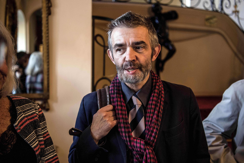 Le journaliste et écrivain Philippe Lançon après avoir gagné le prix Femina 2018 pour son livre « Le Lambeau » (Gallimard).