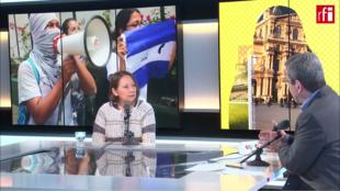 María Teresa Blandón, representante del movimiento feminista  nicaragûense y ex militante del Frente Sandinista de Liberación Nacional (FSLN), en Escala en París, 27 marzo 2019