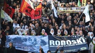 Manifestation à Istanbul à l'occasion du troisième anniversaire du drame de Roboski, le 28 décembre 2014.