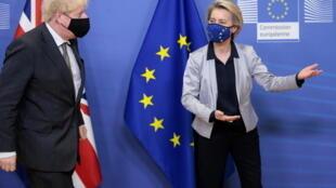英國首相約翰遜與歐盟委員會主席馮德萊恩資料圖片