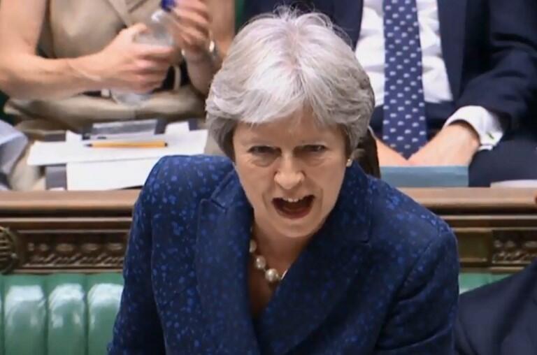 A Primeira-Ministra britânica Theresa May perante os parlamentares nesta Segunda-feira 9 de Julho.