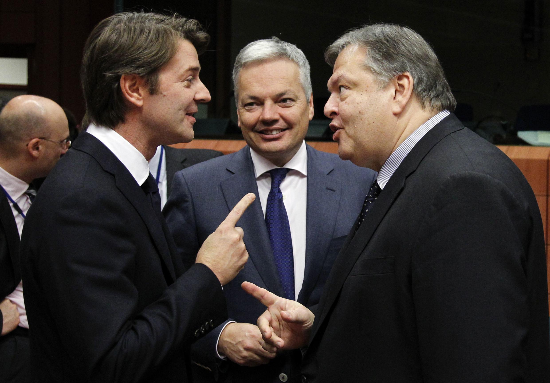 Министры финансов Франции, Бельгии и Греции на совещании в Брюсселе 07/11/2011