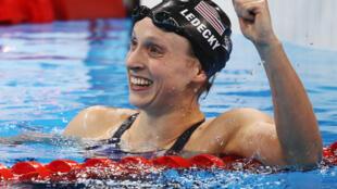 Katie Ledecky tras ganar la final de 800m estilos y pulverizar el récord mundial, el 12 de agosto de 2016.