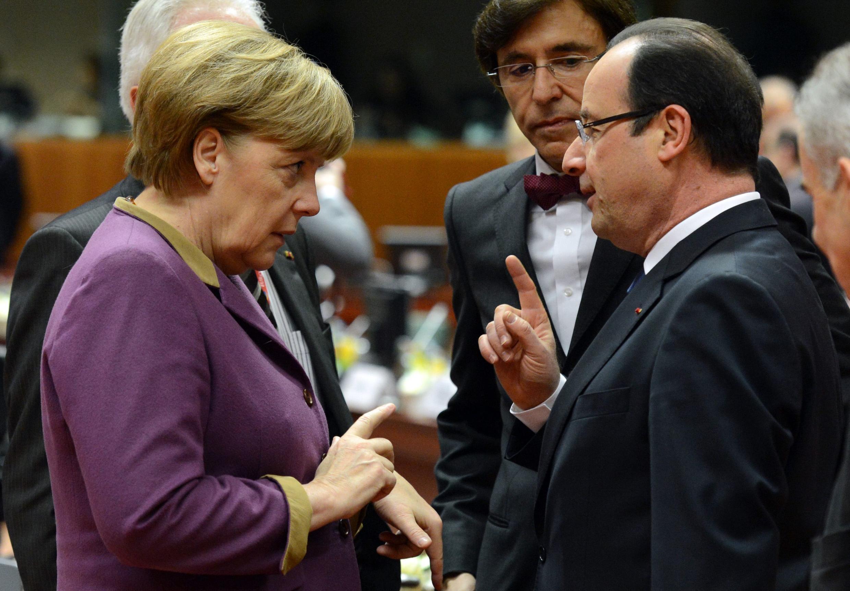 Ангела Меркель и Франсуа Олланд на саммите лидеров Евросоюза в Брюсселе