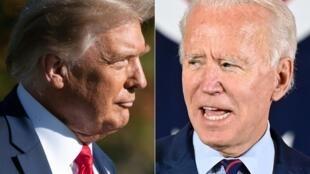 O presidente de Estados Unidos, Donald Trump, e o rival democrata Joe Biden.