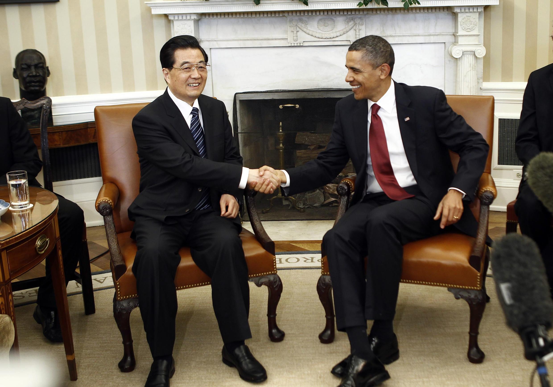 O presidente norte-americano, Barack Obama recebeu na Casa Branca o presidente chinês, Hu Jintao.