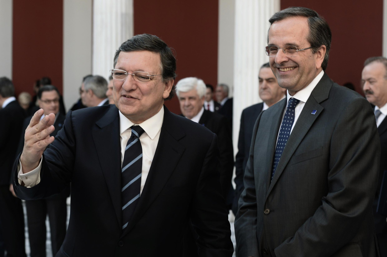 Antonis Samaras junto con José Manuel Barroso en Atenas, este 8 de enero de 2014.